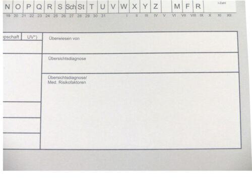 Patientenkarteikarten DIN A5 klappbar Karteikarten Praxiskarten Grau o Blau !