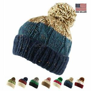 2ab80059afa Three Tone Crochet Knit Slouchy Pompom Beanie Beret Warm Winter Ski ...