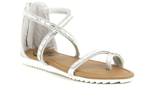Girls Xti Kids Fashion Jewelled Silver Sandal Zip Fasten Sizes Eu 28-38 UK 10-5
