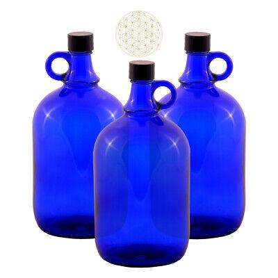 Glasballon Flasche 2 Liter blau Gallone Gärballon Henkelflasche Wein Wasser 2L