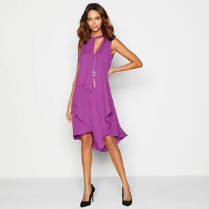 DEBENHAMS-Julien-Macdonald-Purple-Layered-Sleeveless-Dress-Lined-Knee-Length