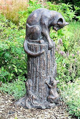 Cat and Mouse Garden Statue aged bronze finish. cast in Resin Garden Sculpture