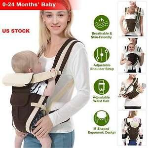 Breathable Ergonomic Adjustable Backpack 4-in-1 Newborn Infant Baby Carrier US