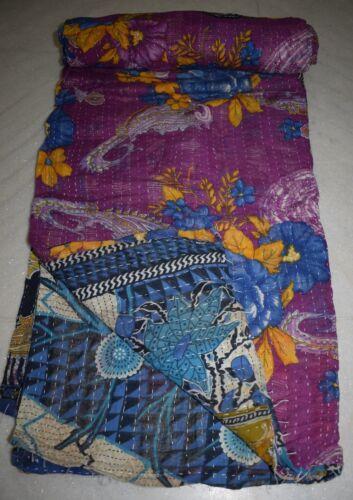 Vintage Throw Kantha Quilt Reversible Gudri Handmade Indian Many to Select Ralli