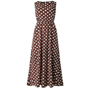 9e07883580a8 Details about Women's Sleeveless Long Maxi Dresses Retro Polka Dot Summer  Casual Sundress New