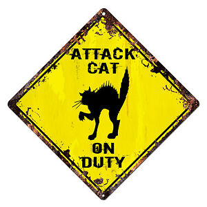 DS-0023-ATTACK-CAT-ON-DUTY-Diamond-Sign-Rustic-Chic-Sign-Shop-Home-Decor-Gift