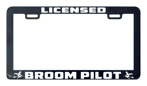 Licensed broom pilot witch license plate frame holder