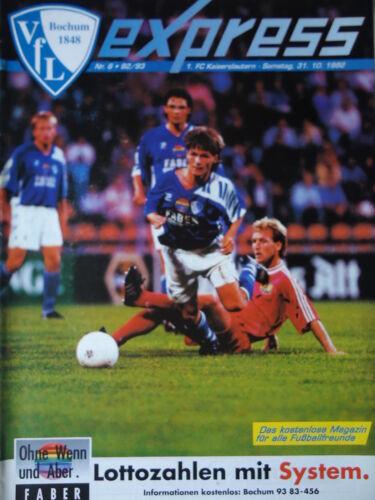 Kaiserslautern Programm 1992//93 VfL Bochum