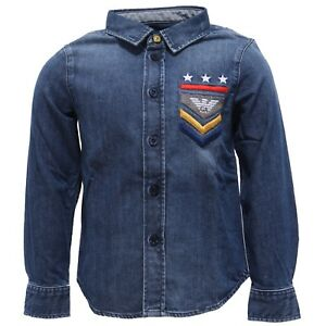 sale retailer c199e f3201 Details about 2774Y camicia bimbo ARMANI JUNIOR denim shirt long sleeve  cotton boy
