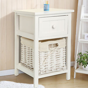 Modern Chic White Bedside table Fresh Look Small Storage Wicker ...