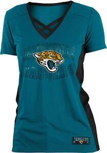 Jacksonville Jaguars T-Shirt Women s NFL Logo Arch Polymesh V-Neck T ... 617793148