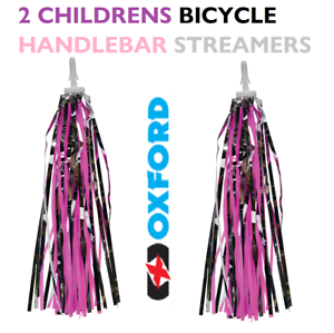 Silver 2 x Oxford Bicycle Handle Bar Streamers 24cm Pink Purple
