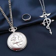 Retro Silver Fullmetal Alchemist Necklace Quartz Pocket Watch Chain Set JJ