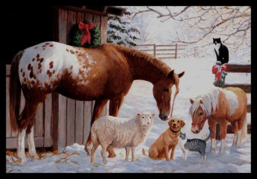 336-MSA Persis Clayton Weirs CAT DOG HORSE SHEEP Christmas Greeting Card NEW