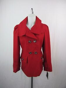 1-Madison-Women-039-s-Red-Double-Breasted-Wool-Blend-Coat-Size-M