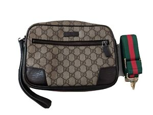 Vintage Classic GG Gucci Cosmetic Bag converted to cross body. ONE OF A KIND!
