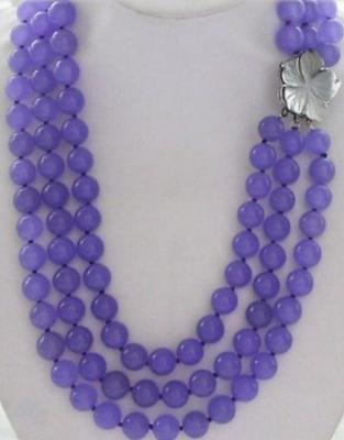 "Fashion Jewelry Necklaces & Pendants 2019 New Style 3row Aaa 18-20"" Purple 10mm Lavender Round Jade Beads Necklace & Shell Clasp"