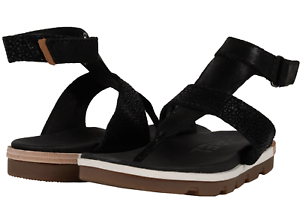 937c46641d3 Sorel Torpeda Ankle Strap Thong Sandal Womens Suede Leather Black ...