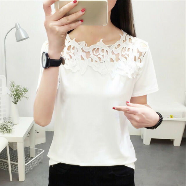 Ladies Tops Women's Shirts Party Hollow Out Fashion Tops Shirts Basic Tee