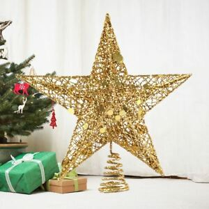 Details About Glitter Gold Christmas Tree Star Topper Ornaments Party Decoration Xmas Decor