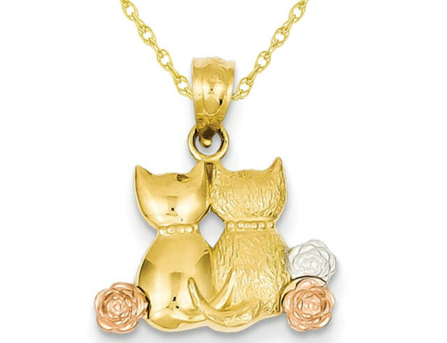 Box or Curb Chain Necklace 14k Yellow Gold Cat Pendant on a 14K Yellow Gold Rope