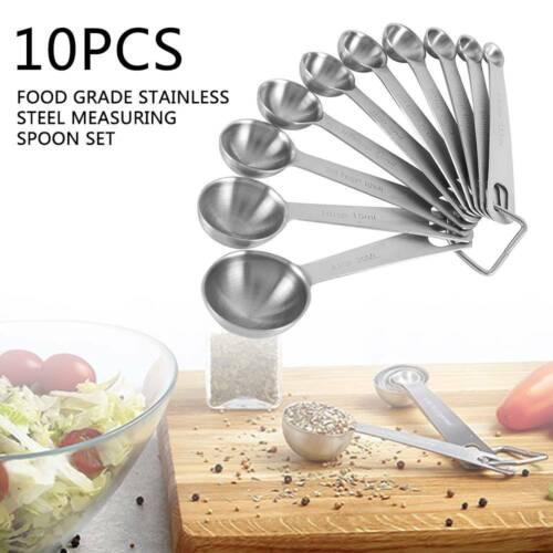 10 Stk Edelstahl Messlöffel Dosierlöffel für Zutaten Kochen Backen Küchenhelfer