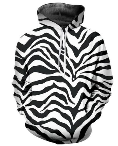 Men/'s Women black white stripe 3D Print Sweatshirt Hoodie Jacket Pullover Tops Y