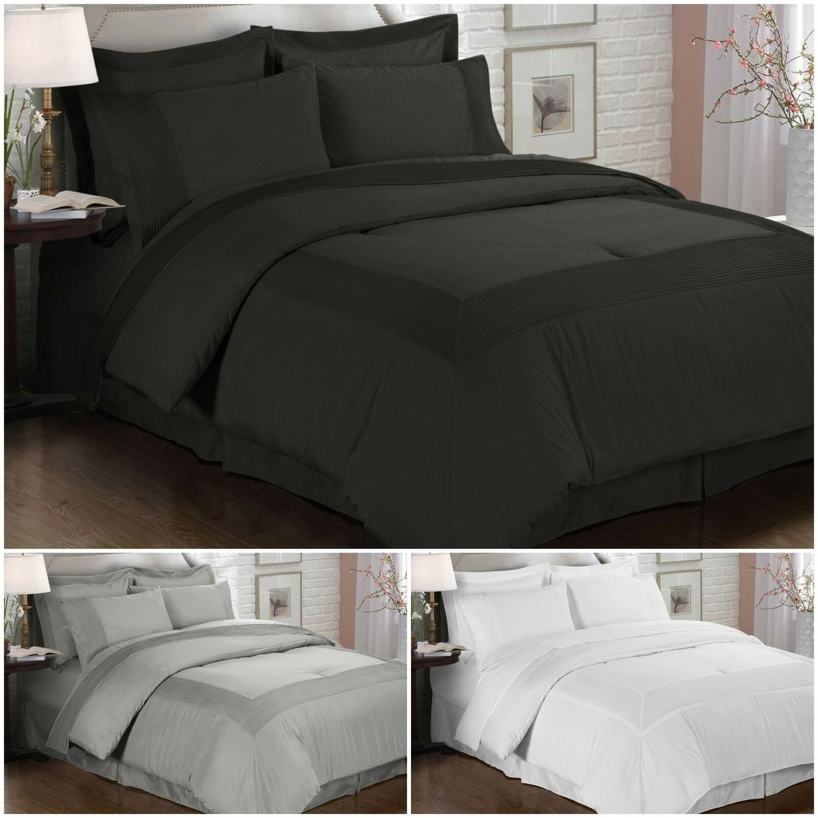 Quilted /& Embroidered Over-Filled Pebble Comforter Collection 8-Piece Set