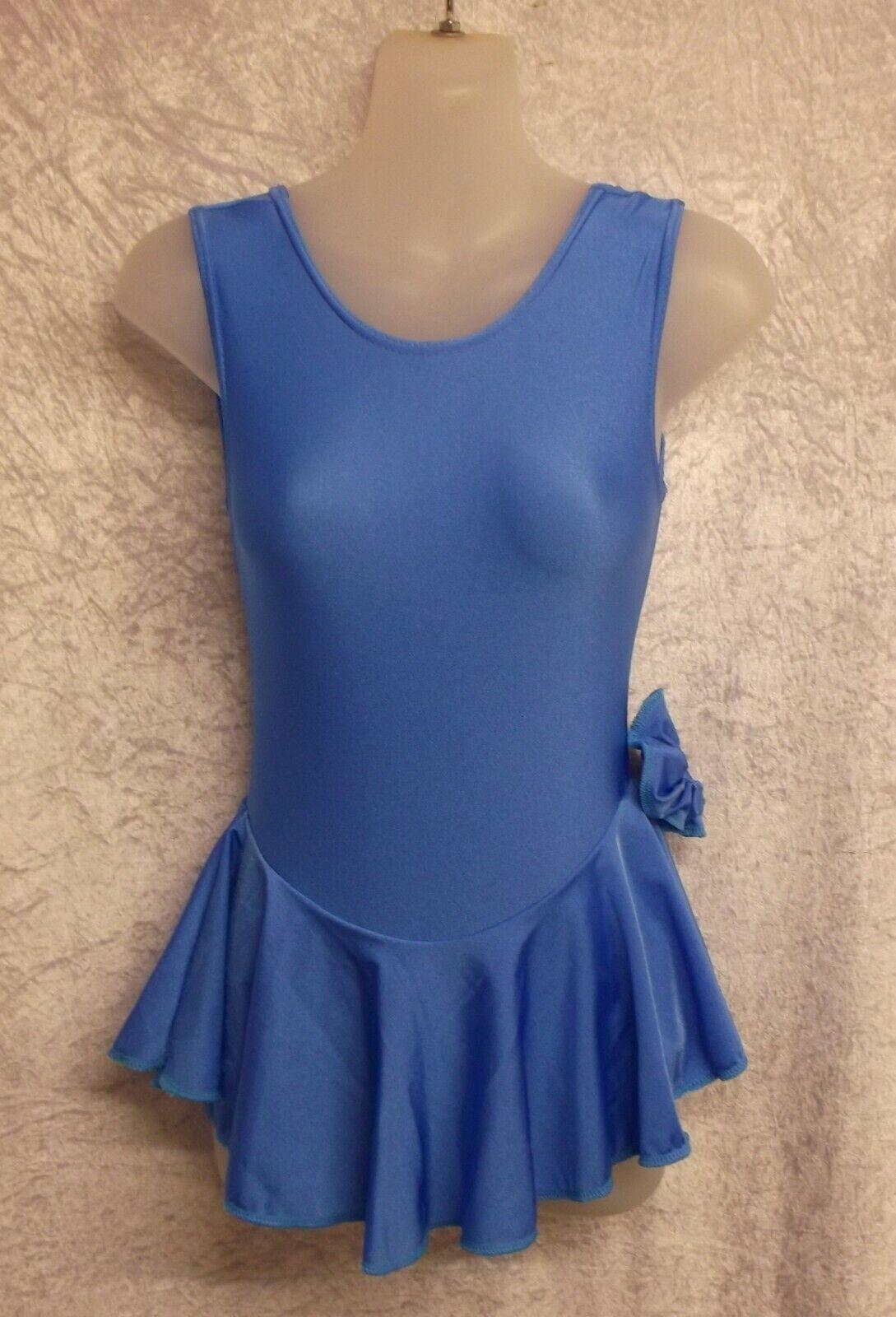MID BLUE LYCRA SLEEVELESS SKATE DRESS LEOTARD - 7-8 YEARS YEARS MAJORETTES