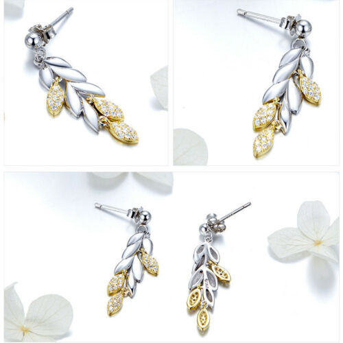 BAMOER Real S925 Sterling silver Stud Eearring wheat With cz For women Jewelry