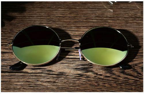 Men Women Retro Vintage Round Mirrored Sunglasses Eyewear Outdoor Sports Glasses