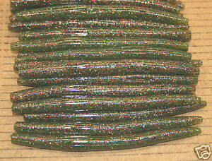 """5/"""" Stick Senko Style Red Shad 100 count bag bulk Plastic Bass Worms"""