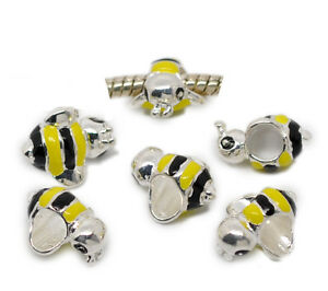 NEW-Silver-Plated-Enamel-Honey-Bumble-Bee-Bead-Fits-European-Charm-Bracelets