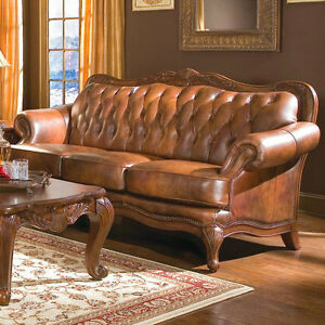 Image Is Loading Formal Leather Sofa Amp 2 Chairs 3Pc Traditional
