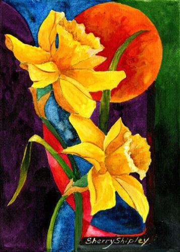 SUN DAFFODILS 8X10 FLOWER print by Artist Sherry Shipley