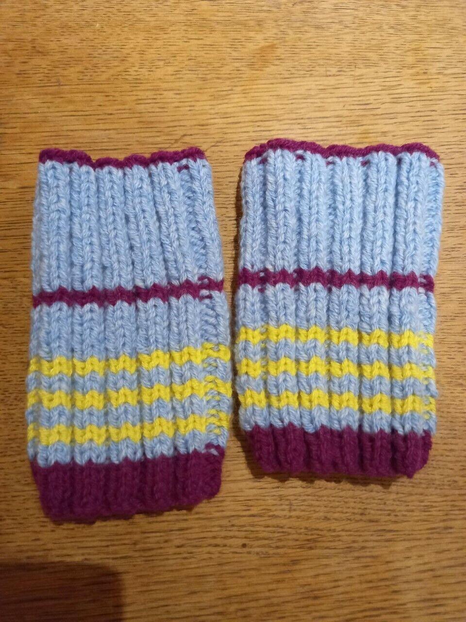 Aston Villa wrist warmers by Granny B