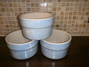 3-Hartstone-Pottery-Crate-amp-Barrel-Ramekin-Blue-Snowflake-Heart-Mini-Baking-Dish