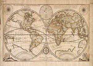 Vintage World Map Vintage Art Print Poster A1 A2 A3 A4