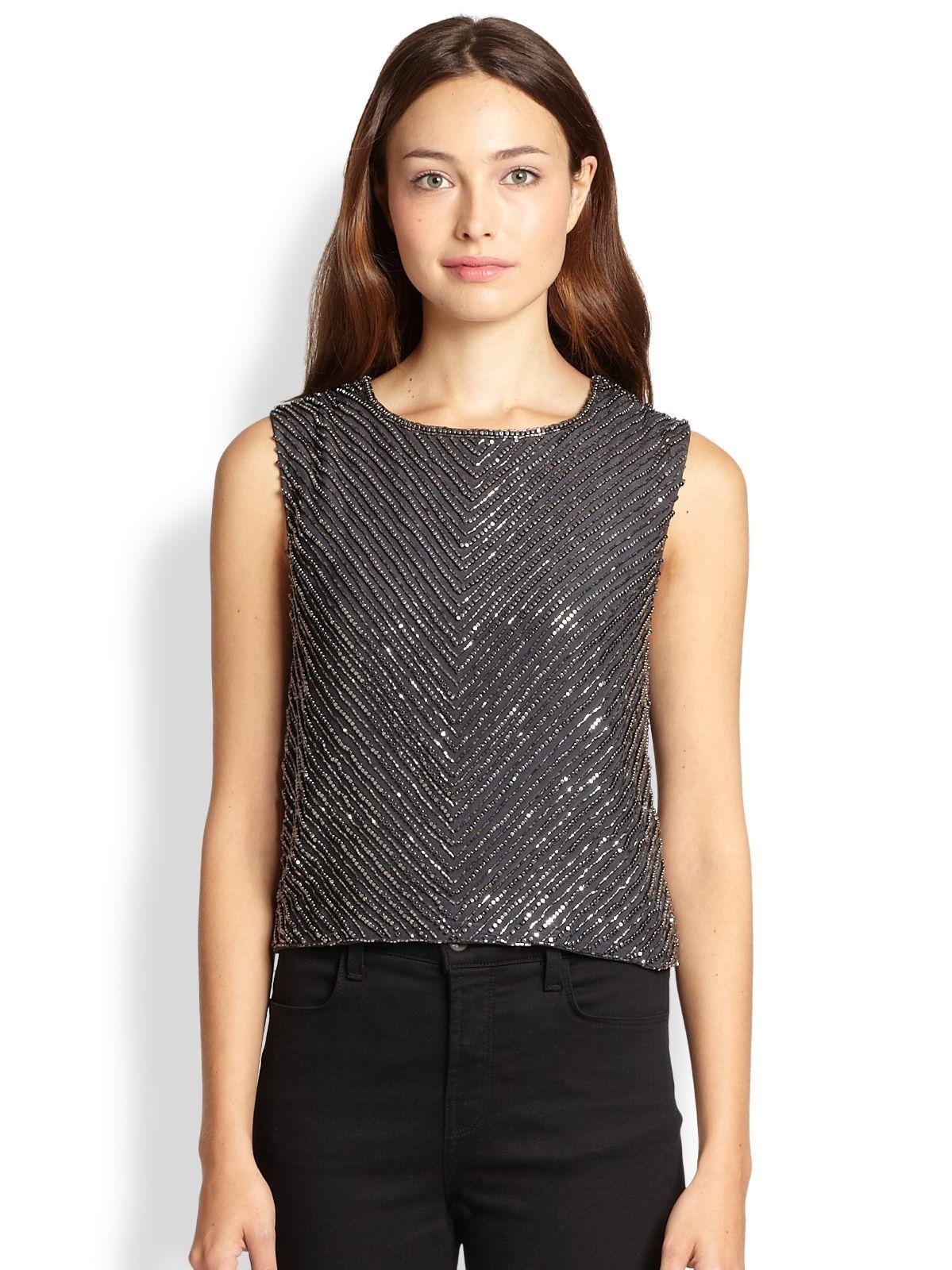 Karina Grimaldi Miriam Gunmetal Silk Beaded Top Blouse NWT  S Small
