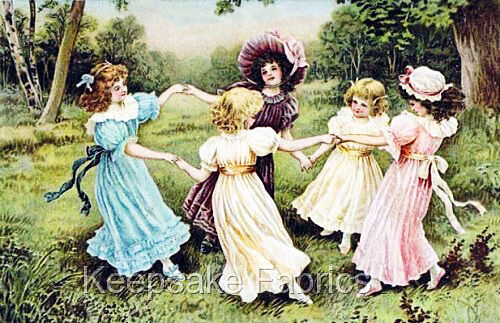 Victorian Girls Ring Around A Rosey Block Multi Sizes