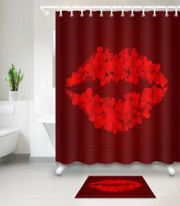 "71X71/"" Color Bricks Fabric Shower Curtain Set Waterproof Bathroom Decor BATHMAT"