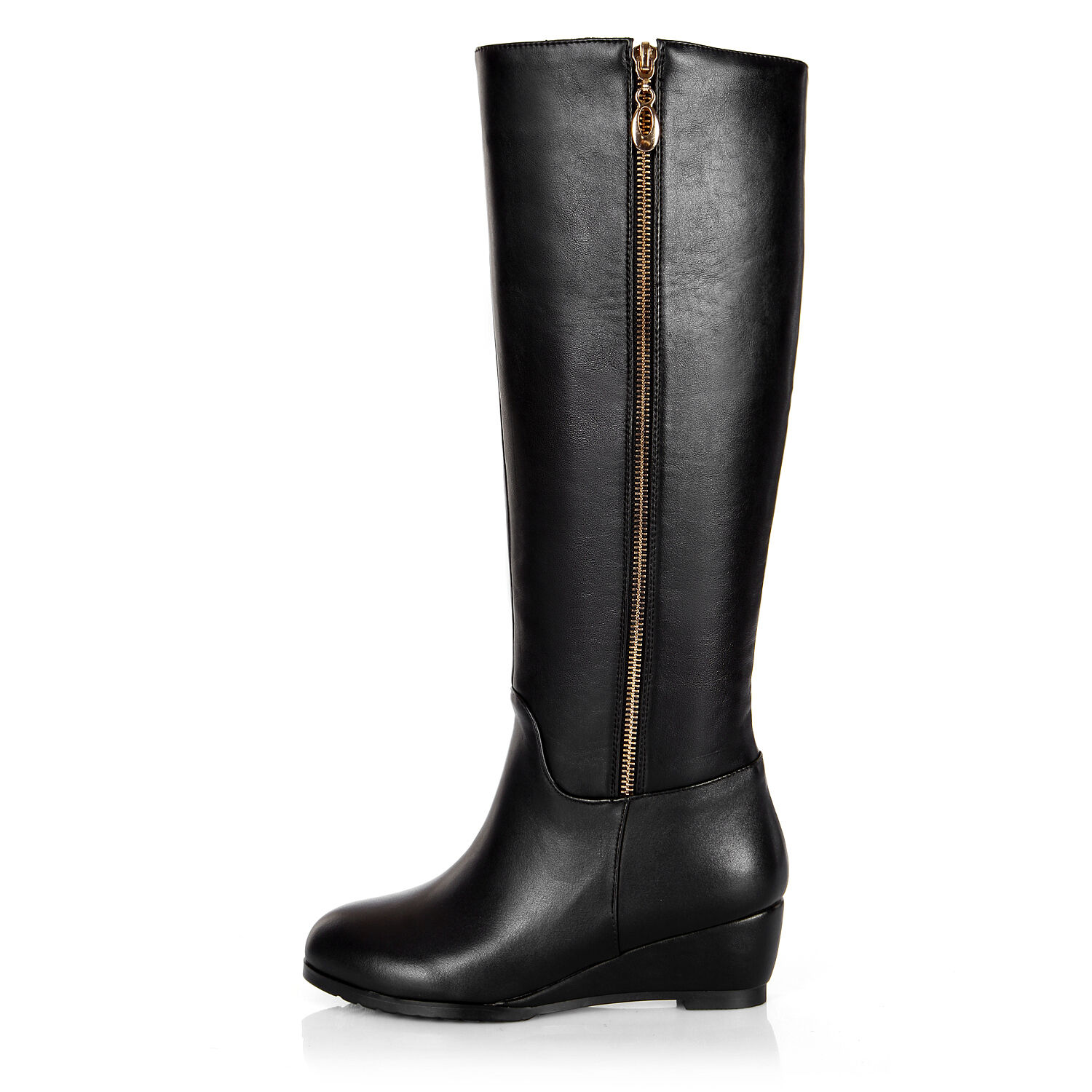 Womens Shoes Genuine Leather Med Wedge Heels Zip Up Knee High Boots US Size b231