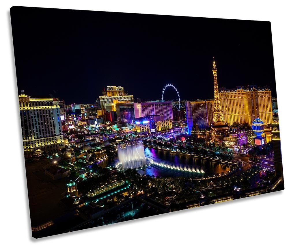 Las Vegas Strip Skyline Night Framed SINGLE CANVAS PRINT Wall Art