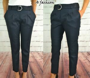 NEXT-LADIES-BLUE-BELTED-LINEN-TAPER-TROUSERS-2-LEG-LENGTHS-376-503-RRP-36