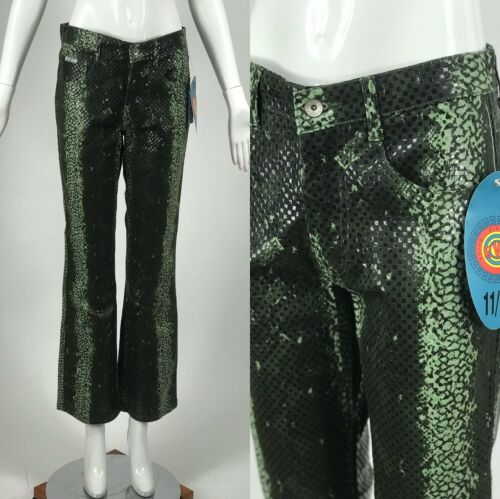 Vintage NOS 90s 00s Snake Print Pants Wet Look Kic