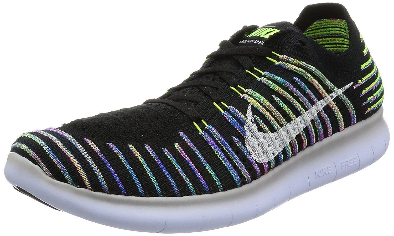 Nike Free RN Shoe Flyknit Running Shoe RN - SIZE 10 (831069-003) BLACK/WHITE/VOLT/BLUE 0806b3