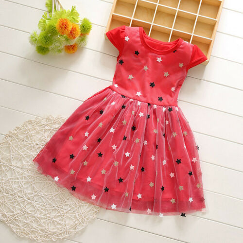 Toddler Baby Kids Girls Patchwork Stars Tulle Princess Dresses Casual Clothes US