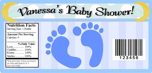 20 BABY BOY BLUE FOOTPRINTS SHOWER PARTY FAVORS WATER BOTTLE LABELS WRAPPERS