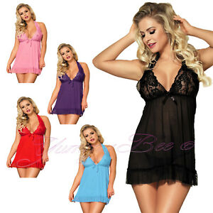 Image is loading Yummy-Bee-Babydoll-Negligee-Sexy-Lingerie-Lace-Nightwear- 0215c5e44