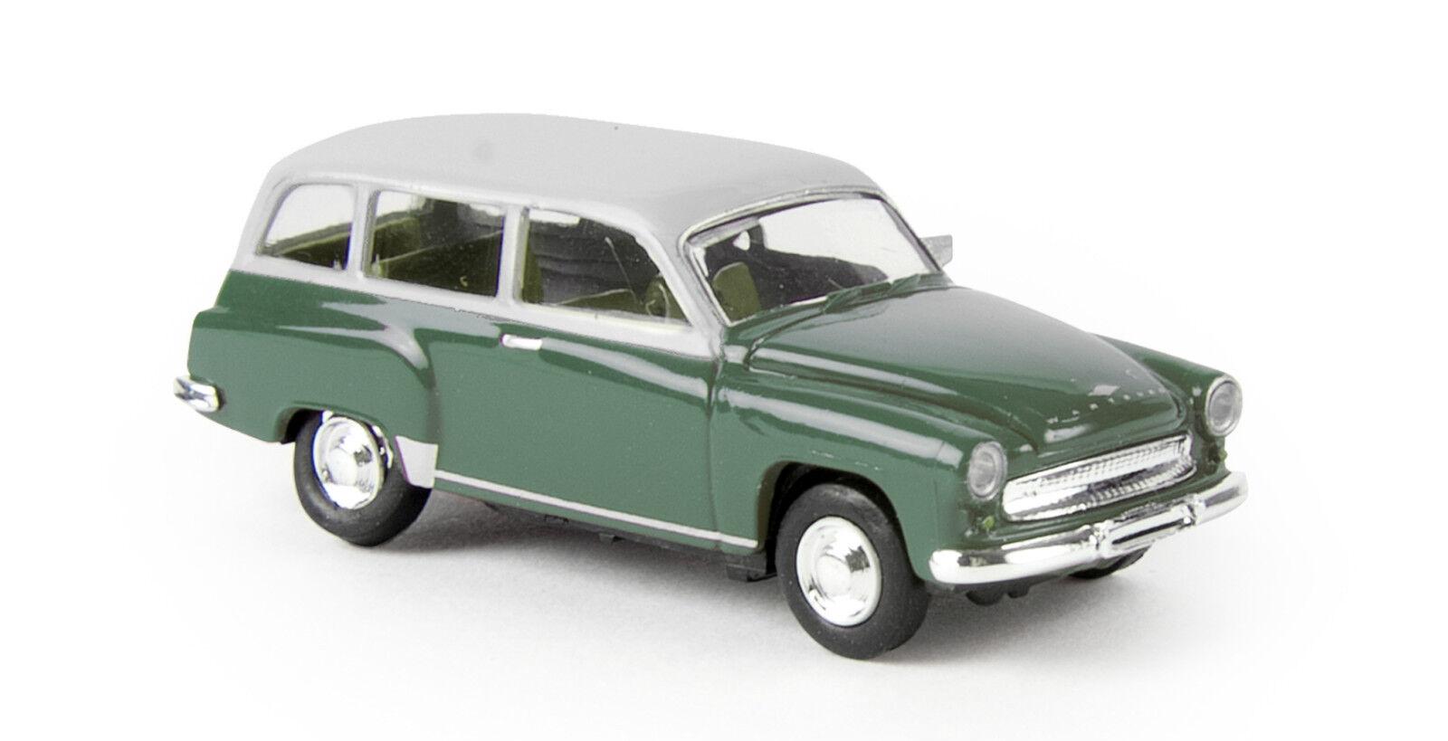 Wartburg 311 Kombi, green grey, Brekina  H0 DDR Auto Fertigmodell 1 87, 27172